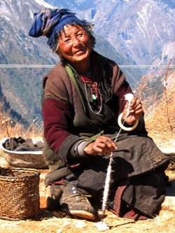 Tashi Lhamo and another village woman, both traditional weavers