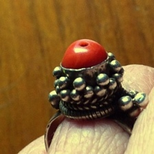 SIlver/Antique Red Coral Ring